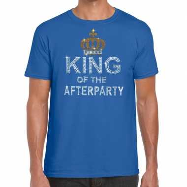 Blauw king of the afterparty glitter steentjes t-shirt heren