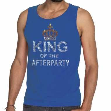 Blauw king of the afterparty glitter steentjes tanktop heren