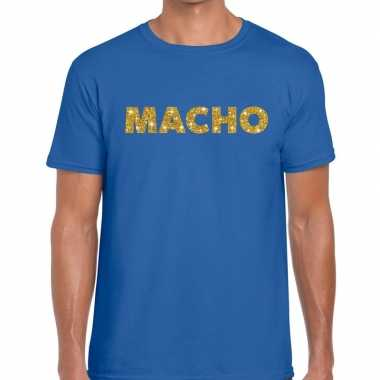Blauw macho goud fun t-shirt voor heren