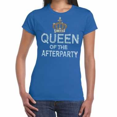 Blauw queen of the afterparty glitter steentjes t-shirt dames