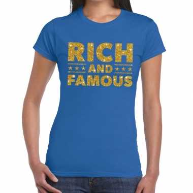 Blauw rich and famous goud fun t-shirt voor dames