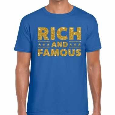 Blauw rich and famous goud fun t-shirt voor heren