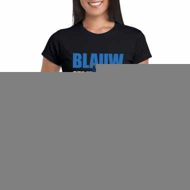 Blauw staat mij niet fun t-shirt voor dames zwart