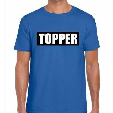 Blauw t-shirt heren met tekst topper in zwarte balk