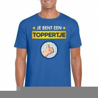 Blauw t-shirt je bent een toppertje voor heren
