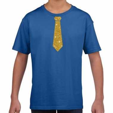 Blauw t-shirt met gouden stropdas voor kinderen