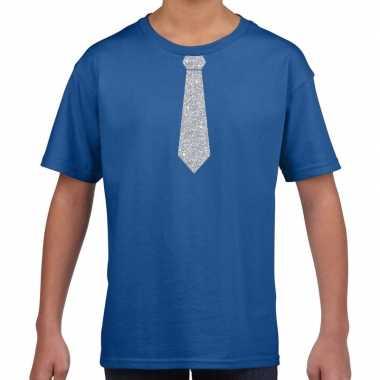 Blauw t-shirt met zilveren stropdas voor kinderen