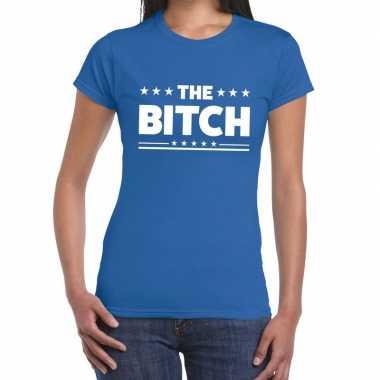 Blauw t-shirt the bitch voor dames