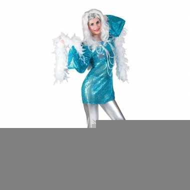 Blauwe disco queen jaren 70 shirt voor dames