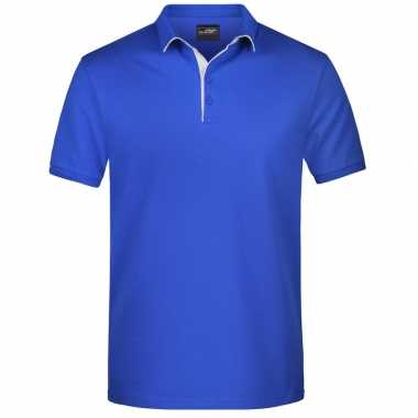 Blauwe premium poloshirt golf pro voor heren