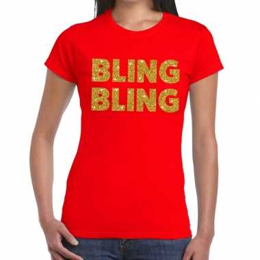 Bling bling fun t-shirt rood voor dames