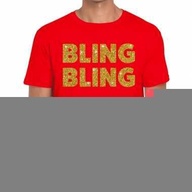 Bling bling fun t-shirt rood voor heren