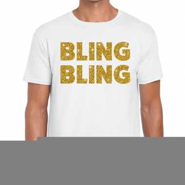 Bling bling fun t-shirt wit voor heren