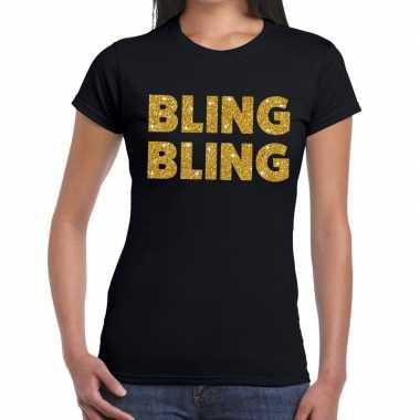 Bling bling fun t-shirt zwart voor dames