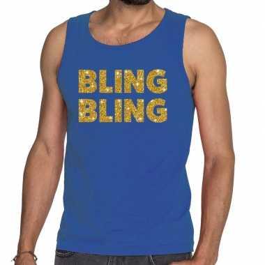 Bling bling fun tanktop / mouwloos shirt blauw voor heren