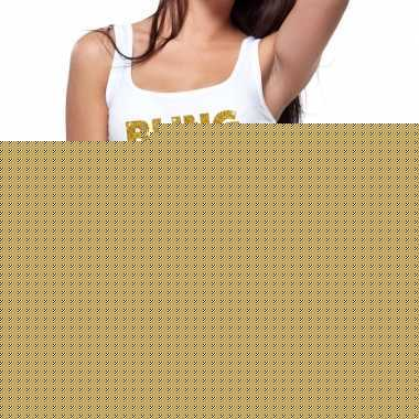 Bling bling fun tanktop / mouwloos shirt wit voor dames