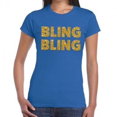 Bling bling tekst fun t-shirt blauw voor dames