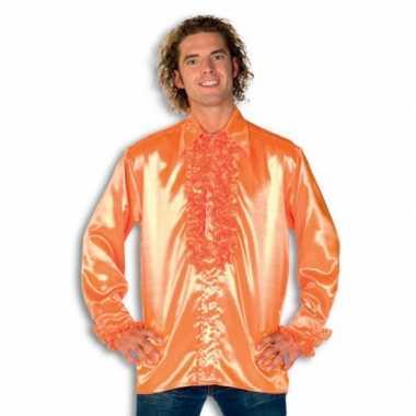 Blouse oranje met rouches heren
