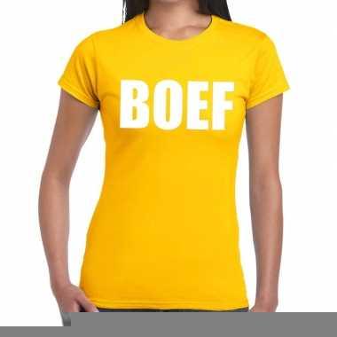 Boef fun t-shirt geel voor dames