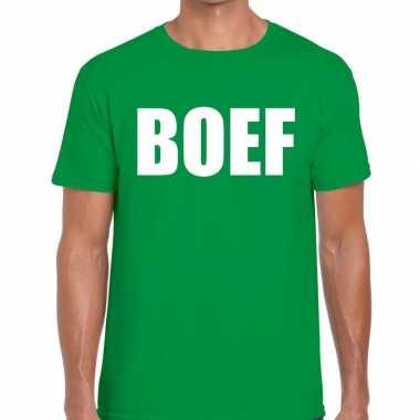 Boef fun t-shirt groen voor heren