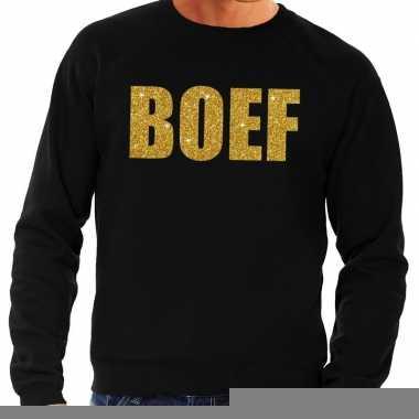 Boef goud glitter fun sweater zwart voor heren