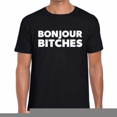 Bonjour bitches fun tekst t-shirt zwart voor heren