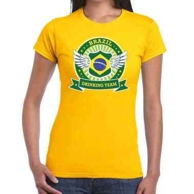 Brazil drinking team t-shirt geel dames