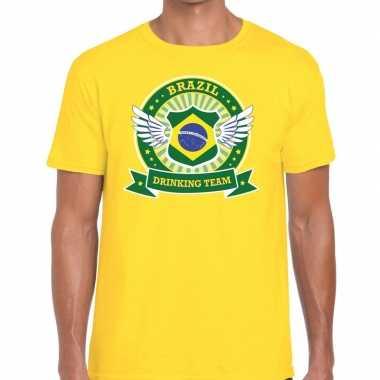 Brazil drinking team t-shirt geel heren
