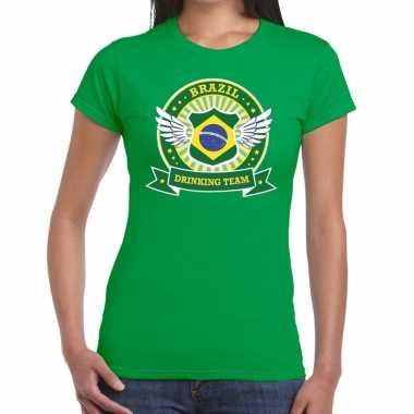 Brazil drinking team t-shirt groen dames