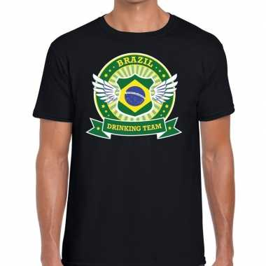 Brazil drinking team t-shirt zwart heren