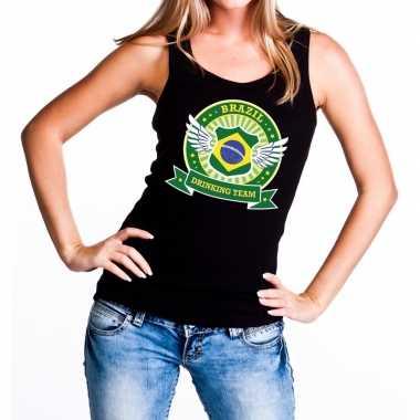 Brazil drinking team tanktop / mouwloos shirt zwart dames
