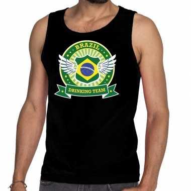 Brazil drinking team tanktop / mouwloos shirt zwart heren