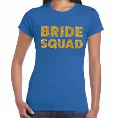 Bride squad fun t-shirt blauw voor dames