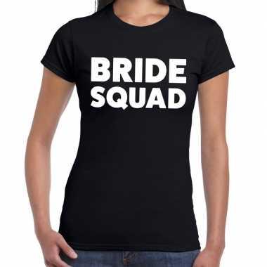 Bride squad fun t-shirt zwart voor dames