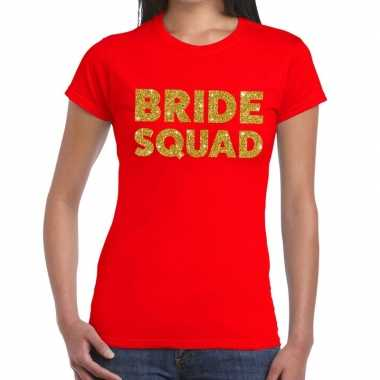 Bride squad goud fun t-shirt rood voor dames