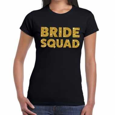 Bride squad goud fun t-shirt zwart voor dames