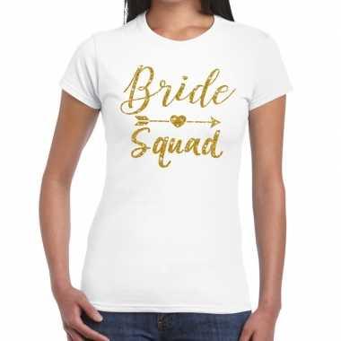 Bride squad gouden letters fun t-shirt wit voor dames