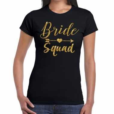 Bride squad gouden letters fun t-shirt zwart voor dames