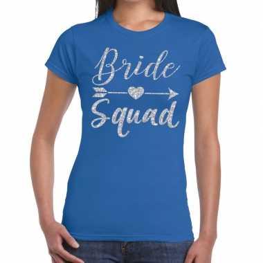 Bride squad zilveren letters fun t-shirt blauw voor dames