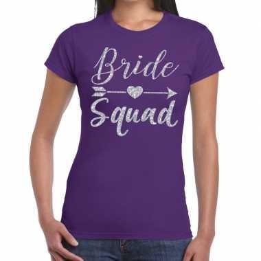 Bride squad zilveren letters fun t-shirt paars voor dames