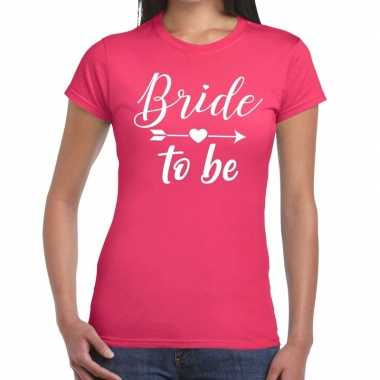 Bride to be fun t-shirt roze voor dames