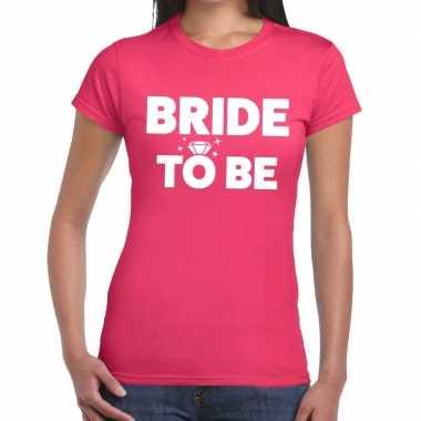 Bride to be fun t-shirt roze voor dames