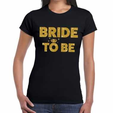 Bride to be goud fun t-shirt zwart voor dames