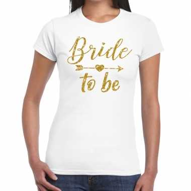 Bride to be gouden letters fun t-shirt wit voor dames