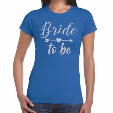 Bride to be zilveren letters fun t-shirt blauw voor dames