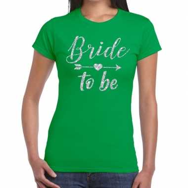 Bride to be zilveren letters fun t-shirt groen voor dames