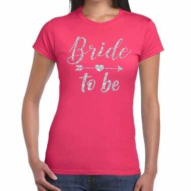Bride to be zilveren letters fun t-shirt roze voor dames