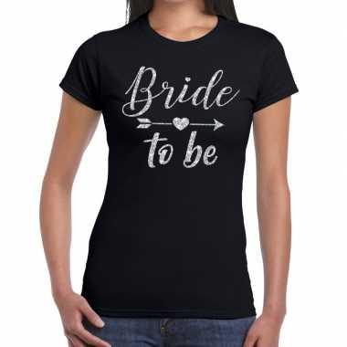 Bride to be zilveren letters fun t-shirt zwart voor dames