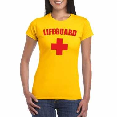 Carnaval reddingsbrigade lifeguard t-shirt geel dames