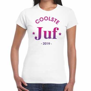 Coolste juf 2019 fun t-shirt wit voor dames - cadeau juffendag